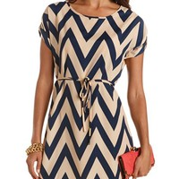 BELTED CHEVRON STRIPE DRESS