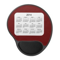 Maroon and White 2014 Calendar Gel Mouse Pad