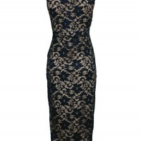 Navy Nude Lace Midi Dress | Dresses | Desire