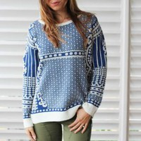Blue & Cream Abstract Metallic Pattern Sweater