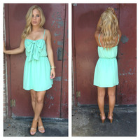 Mint Spagetti Strap Scoop Bow Dress