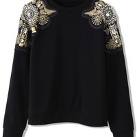 Black Sweater with Gold and Crystal Embellished Shoulders
