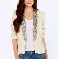 BB Dakota Belle Light Beige Sequin Blazer