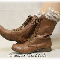 MISS TORI in Oatmeal lace boot socks -cowboy boot socks-combat boot socks- womens boot socks- short boot socks Catherine Cole Studio SLX204L