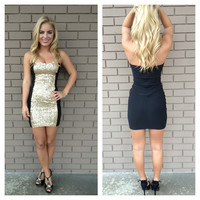 Black Strapless Sequin Block Mini Dress