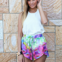 COSMIC TIE DYE SHORTS , DRESSES, TOPS, BOTTOMS, JACKETS & JUMPERS, ACCESSORIES, SALE, PRE ORDER, NEW ARRIVALS, PLAYSUIT, COLOUR,,SHORTS,Pink,Print,Purple Australia, Queensland, Brisbane