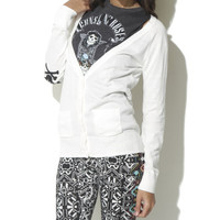 Skull Elbow Patch Cardigan - WetSeal