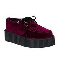 Burgundy Velvet Mondo Creepers by T.U.K. - Women's 10/Men's 8