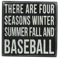 Primitives by Kathy Square Box Sign, 6-Inch, Baseball