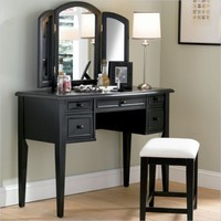 Powell Furniture Terra Cotta Vanity Table w/Mirror & Bench Bedroom Vanitie