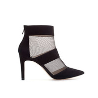 MESH LEATHER HIGH HEEL ANKLE BOOT