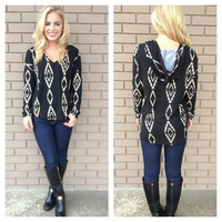 Black & Mocha Aztec Diamond Hoodie Sweater