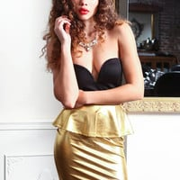GOLDEN GODDESS PEPLUM DRESS