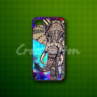 Elephant Aztec Nebula - Rubber or Plastic Print Custom - iPhone 4/4s, 5 - Samsung S3 i9300, S4 i9500 - iPod 4, 5