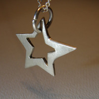 Sterling Silver Floating Star Pendant Adrift on Jump Ring