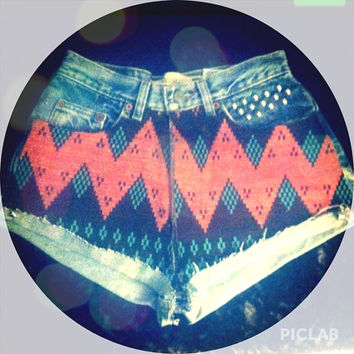 Studded aztec shorts