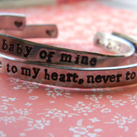 Parent child set of two aluminum bracelet 1/4 inch wide customizable as seen on Canadian family gift guide