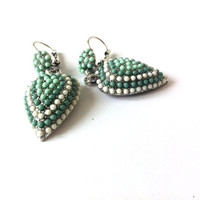 Heart Dangle Earrings, Light Green, Aqua, White, Beaded