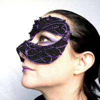 Unisex black and purple masquerade mask, costume, accessories, handmade