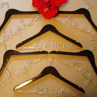 Complete Set of 10 Personalized Wood Custom Made Wedding Party Hangers, Bride-Groom, Mothers, Maid of Honor, Bridesmaids, Flower Girl