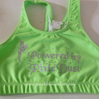 Tinker Bell Powered by Pixie Dust Cotton Sports Bra Cheerleading, Yoga, Running, Working Out