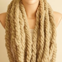 Alpaca Wool ,Oat Wheat Chain Scarf. Loop Scarf.Winter Scarf. Noel Scarf, Christmas Gift,