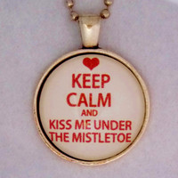 Kiss Me Under The Mistletoe Necklace. Christmas Holiday Necklace. 18 Inch Ball Chain.