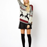 ASOS Christmas Sweater in Reindeer Fairisle - Multi