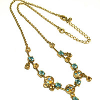 Aqua Blue and Yellow Rhinestone Necklace Gold Tone