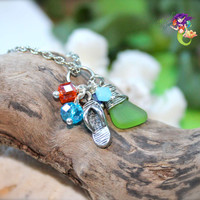 Sea Glass Jewelry made in Hawaii Flip Flop Hawaiian Necklace with green seaglass by Mermaid Tears