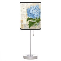 Vintage Blue Hydrangea French Ephemera Lamp