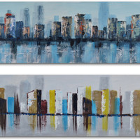 Duo of waterlogged city Hand Painted Art at Art.com