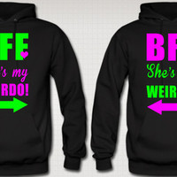 BFF SHE'S MY WEIRDO LOVE COUPLE HOODIES