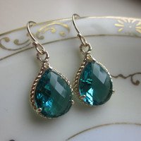FREE US SHIPPING Sea Green Earrings Blue Gold Earrings - Bridesmaid Earrings Wedding Earrings Bridal Earrings