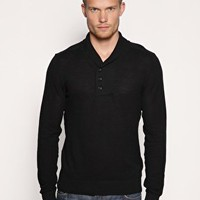 ASOS Button Up Shawl Collar Sweater at ASOS