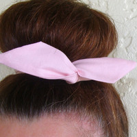 "Wire Bun Wrap, Top Knot Wire Wrap Solid Pink ""Mini"" Dolly Bow Wire Headband Ponytail Hair tie Hair Bun Tie Wrap"