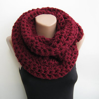 Chunky scarf, burgundy crochet infinity scarf,gray,ivory,purple choose your color