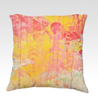 SUN SHOWERS - Fine Art Velveteen Throw Pillow Cover 18 x 18 Abstract Skyscape Rainy Day Sunshine Modern Home Decor Acrylic Painting Cushion