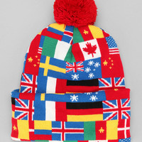 Flags Of The World Pom Beanie - Urban Outfitters
