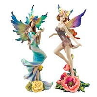 Flower Fairies of Butterfly Hollow Set: Tea Rose & Wild Rose Fairies - WU974380 - Design Toscano