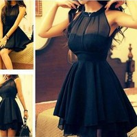Ladies Dazzling Mesh Front Layer Dress