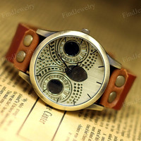 Owl Watch Women Vintage watches Genuine Leather Night Owl Retro Unisex Mens Wristwatch