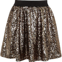 GIRLS DARK GOLD SEQUIN TUTU SKIRT