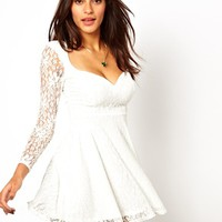 Oh My Love Lace Skater Dress with Sweetheart Neckline