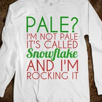 Pale I'm Not Pale It's Called Snowflake Longsleeve-White T-Shirt