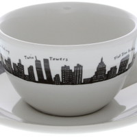 212 NY City Skyline Cup Saucer Set | Coffee Cups and Saucers | RetroPlanet.com