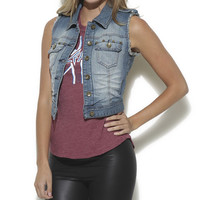 Fray Stud Pocket Denim Vest - WetSeal