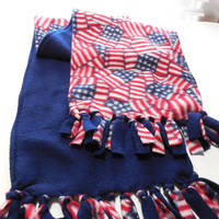 Patriotic Fleece Scarf Children Adults Infinity Double Layer