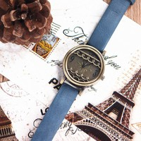 MagicPieces Handmade Vintage Style Leather Watch For Women Waves Blue