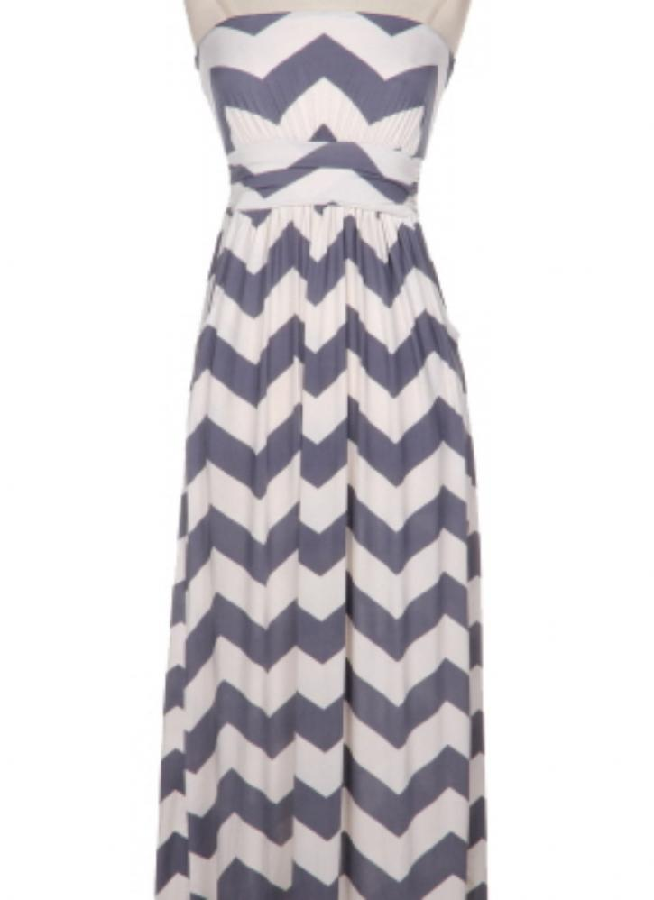 This is a chevron maxi dress created from percent polyester. It is an unlined design, which makes it flow more freely and makes it an ideal garment for hot summer days. The hemline is short and the cut is sporty, with long sleeves and high, rounded neckline.